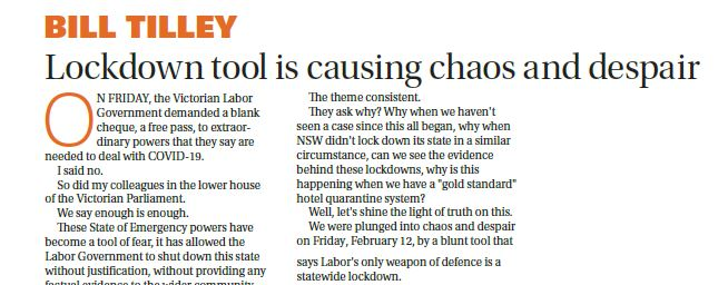 Lockdown powers causing chaos and despair | Bill Tilley